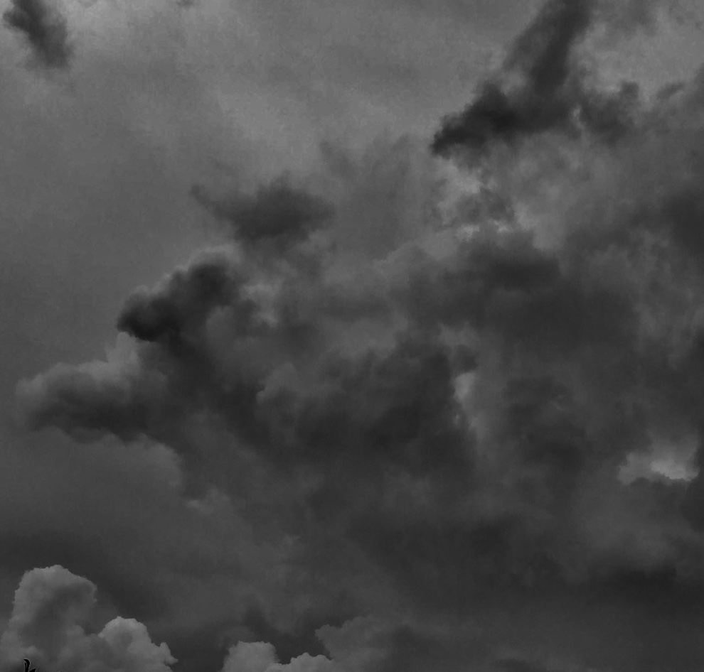 picture of dark black and white clouds.